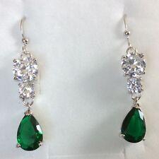 Z09 Green Emerald Sim Diamond Silver Dangle Earrings White Gold GF BOXED Plum UK