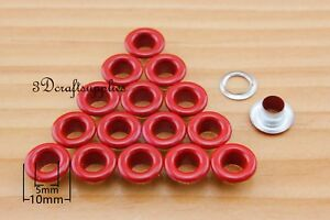 eyelets metal iron with washer grommets red round 100 sets 5mm H105