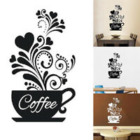 AU_ Coffee Cup Decal Wall Decoration Removable Home Kitchen Art Mural Sticker De