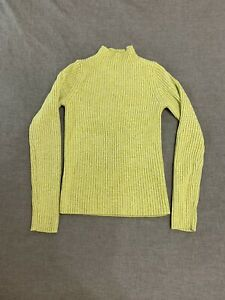 Uniqlo XS Lime Green Ribbed Mock Neck Sweater