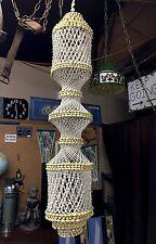 "Handmade SeaShell Shells Hanging Art Beach Spiral Macrame Style 59"" x 11"