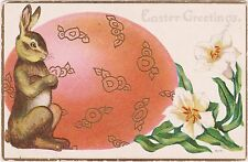 """Rare Posted Divided Back Embossed Easter Bunny Postcard """"Easter Greetings"""" Nice"""