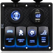 Waterproof 4 Gang LED Rocker Switch Panel Circuit Breaker Boat Marine Accessory