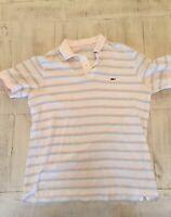 VINEYARD VINES Men's S/S Soft Cotton Whale Polo Shirt White Striped Size XL