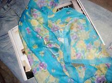 Jolie Echarpe Florale Bleu/Brun/Violet en Lin Apocynum de Xinjiang 160x50cm