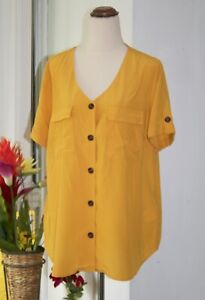 Suzannegrae Shirt Size 14 Mustard Yellow V-neck Short Sleeve Button Down