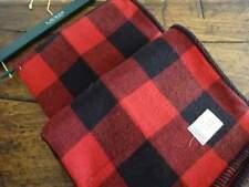RALPH LAUREN RED Black LODGE Cabin BUFFALO PLAID THROW BLANKET