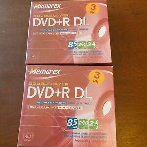 Memorex DVD+R DL Lot of 2 Double Layer 8.5 GB 240 min Video 2.4X 3-Pk New