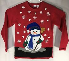 Womens Christmas Sweater Small Red Snowman Snowflake Holiday