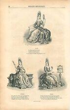 Cloto / Lachesis / Atropos / la Parque Filleuse GRAVURE ANTIQUE OLD PRINT 1853