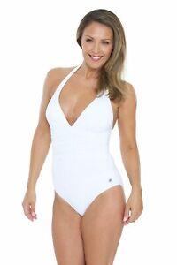 Women's Plunge Halter one Piece Swimsuit /Swimwear- White