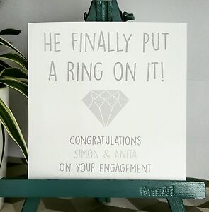 PERSONALISED Handmade Engagement Card He put a ring on it! GREY