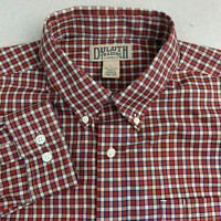 Duluth Trading Co Button Up Shirt Mens Large Red Plaid Long Sleeve Casual Cotton