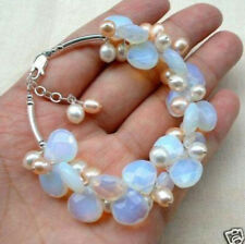 Exquisite Crystal Moonstone Fresh Water Pearl bracelet C30255