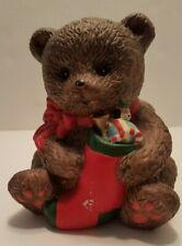 New Holland Floral Christmas Bear Planter Ceramic 1996 Vintage