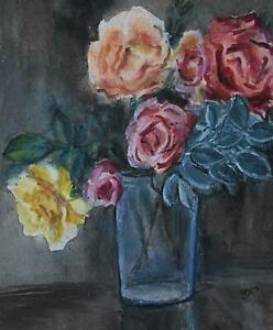 Still Life with Summer Roses in a Glass Vase Watercolour Moila Powell c1960s