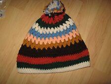 Crochet Stocking Cap - Handmade Multi Color Stripe Knit Toboggan Winter Ski Hat