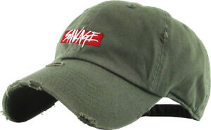 Savage Embroidery Dad Hat Baseball Cap Unconstructed Vintage Distressed