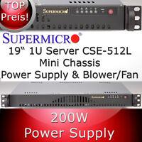 Supermicro 1HE / 1U mini Gehäuse / Chassis SC512-200B + Netzteil , Blower-Fan