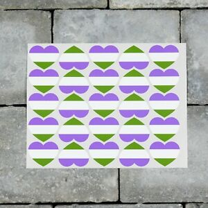 25 x Genderqueer Flag Heart Stickers Decals LGBTQ Pride - 37mm x 30mm - SKU7166