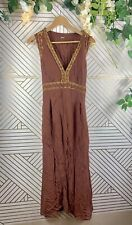 CHAN LUU Embroidered Dress Size M India V Neck Tie Back