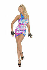 Elegant Moments Tye Dye Halter Mini Dress Pothole Cut out Sleeveless One Size