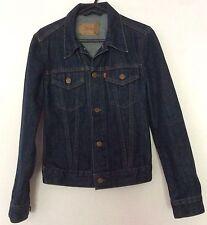 "Levis girls dark blue denim classic jeans jacket XS 30"" chest 70s slim style"