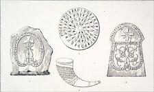 SWEDEN- RUNIC INSCRIPTIONS, RUNIC CALENDAR & SCANDINAVIAN RHYTON -Engraving 19th