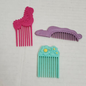 Lot of 3 Vintage Hasbro My Little Pony Tails Combs Red Seahorse Blue Flowers