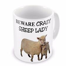 Beware Crazy Sheep Lady Funny Novelty Gift Mug