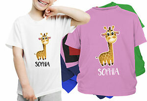 PERSONALISED KIDS Giraffe T-SHIRT Boys, Girls  ANY NAME  BIRTHDAY GIFT Present
