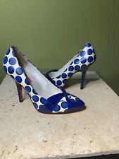 Betsy Johnson Blue White Bow Polka Dot Cute Pumps Heels Shoes Sz 8 M