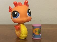 Littlest Pet Shop #315 Orange and yellow shimmer Seahorse with blue eyes Used