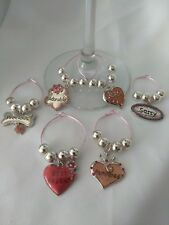 Pink Wine Glass Markers / Charms for Party & Celebrations & Holidays & Weddings