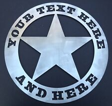 "Texas Ranger Star Wall Art Custom Welcome Name Sign 23.5"" Metal Personalized"