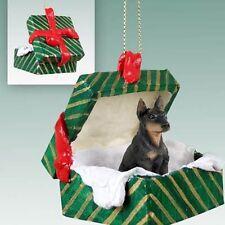 Doberman Pinscher Black Dog Green Gift Box Holiday Christmas Ornament