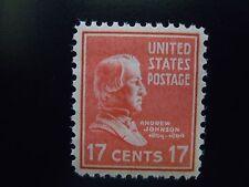 1938 #822  17c Andrew Johnson  Presidential Issue MNH OG