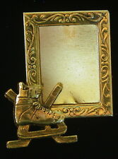 Ice Hockey Skate Photo Pin Brooch 24 Karat Gold Plate