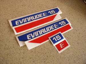 Evinrude Outboard Vintage Decal Kit 15 HP Die-Cut FREE SHIP + FREE Fish Decal!