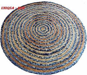 Rug 100% Natural Jute & denim 6x6 Feet handmade reversible homder decor rag rugs