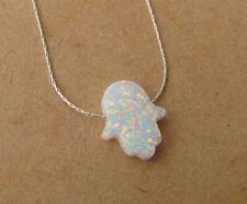White opal hamsa pendant necklace, silver bar charm, opal necklace, opal hamsa