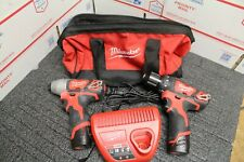 "Milwaukee 12v 3/8"" Drill & 1/4"" Impact Driver Set 2462-20 2407-20"
