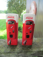 Coca-Cola Ceramic Vending Machine Salt and Pepper Shakers  - BRAND NEW