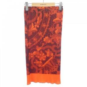 PLEATS PLEASE Issey Miyake Skirt Red Orange Size 1 Floral Authentic USED #4071A