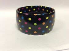 Claire's Accessories  Black With Multi Coloured Polka Dots Bangle Very Wide