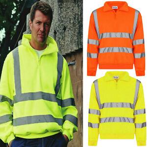 New Men High VIZ VIS HI VISIBILITY Jacket 1/4 ZIPPER COLLAR Sweat Shirt Fleece