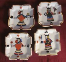 Set of 4 Playing Card Ceramic Ash Trays King-Spades/Clubs, Queen-Hearts/Diamonds