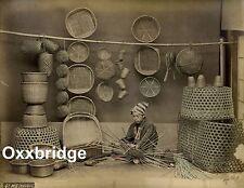 Antique Japan Photo 1880 Basket Weavers Industrious Workers Silk Factory