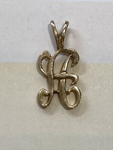14K Yellow Gold Letter A Initial Charm or Pendant