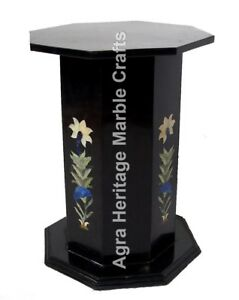 "24""x15"" Marble Black Modern Pedestal/Stand/Base Inlay Marquetry Work Decor E547A"